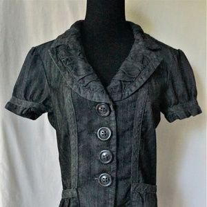 Dressbarn Black Denim Short Sleeve Jacket/Blazer